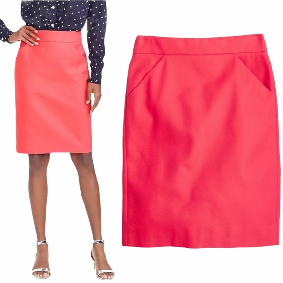 J. Crew Pencil Skirt Double Serge Coral - Size 8